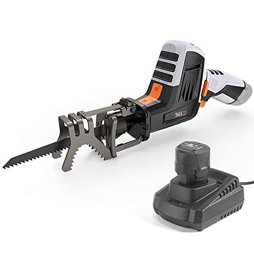 TACKLIFE 12V MAX Reciprocating Saw with Clamping Jaw, One-Handed, Cordless Reciprocating Saw kit, Battery Indicator, Step-less Variable Speed, 1.5A Lithium-Ion Battery, 1 Hour Fast Charger - RES001