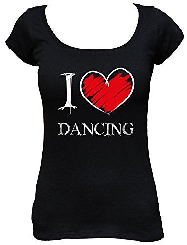I Love Dancing Fun Damen Boat Neck T-Shirt_schwarz_S