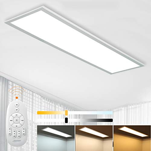 Dimmbar LED Deckenleuchte Panel 100x25 cm mit Fernbedienung, 28W Flache Deckenpanel Lampe mit Starker Leuchtkraft Licht, 2700K - 6500K Warmweiß Naturweiß Kaltweiß Lampe für Büro Werkstatt Wohnzimmer