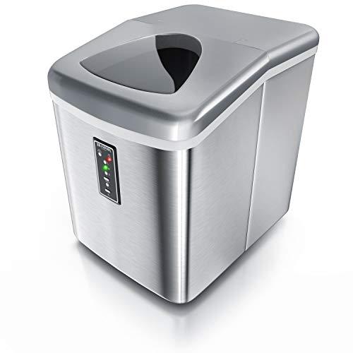 Brandson - Eiswürfelmaschine Edelstahl 150 Watt – Eiswürfelbehälter 3,4 Liter - 9 große Eiswürfel in ´11 Minuten - 3 Eiswürfelgrößen - mit Sichtfenster – Status LEDs - inkl. Eiswürfelschaufel