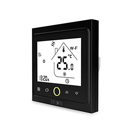Irfora Termostato inteligente con Wi-Fi, control de temperatura, control de aplicación, 5 A, compatible con Alexa/Google Home de agua y calderas de gas para el hogar, color negro