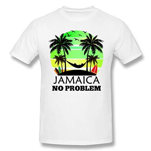 Brendas Coconut Tree Reggae Color Jamaican Hombres Algodón Camiseta Blanco Xl