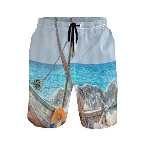 LISNIANY Badehose für Herren,Ocean Boat Retro Art Holzfloß Anlegestelle Shoal Reef Rock Ruhige Meereswelle Welligkeit Himmel,Badeshorts für Männer Surfen Strandhose Schwimmhose(XXL)