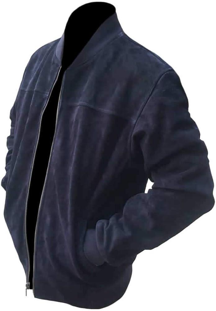Classyak Men's Fashion Bomber Style Suede Leather Dark Blue Jacket