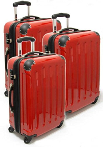 Monopol Trolley-Set - Koffer - 3-teilig - Ultra-Light - 4 Rollen - rot, Silber, schwarz