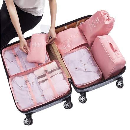 旅行用 トラベルポーチセット 7点セット スーツケース 整理袋 収納袋 靴袋 ベルト付 防水 ポーチ アメニティ 靴袋 シューズケース付 (ピンク)