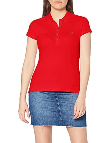 Tommy Hilfiger Damen NEW CHIARA STR PQ POLO SS Poloshirt, Rot (Apple Red 611), 44 (XXL)