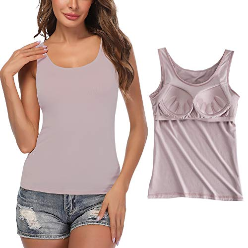 STARBILD Damen BH Hemd mit Cups Unterhemd mit Eingebauter Cups U-Ausschnitt Bügelloser, Rosa XL