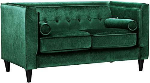 Meridian Furniture 642Green-L Taylor Button Tufted Velvet Upholstered Tuxedo Loveseat with Square Arms, Custom Solid Wood Legs, and Included Bolster Pillows, Green