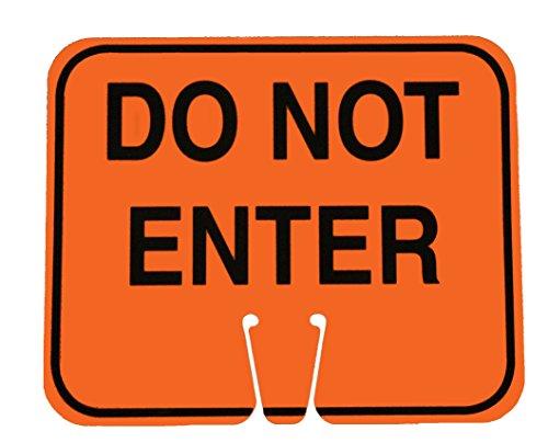 Cortina 03-550-DNEG ABS Plastic Traffic Cone Sign, Legend DO NOT ENTER, 11 Width x 13 Height, Black on Orange