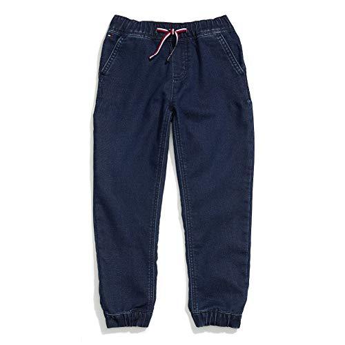 Tommy Hilfiger Boys' Adaptive Jogger Pants Slim Straight Fit with Elastic Waist, Jonah Wash Rint 5
