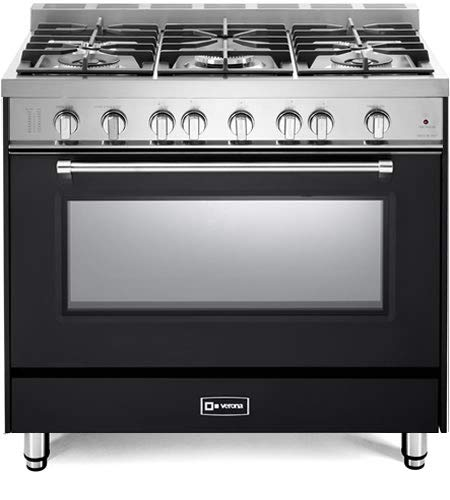 Verona Prestige Series VPFSGG365E 36 inch All Gas Range Convection Oven 5 Sealed Burners Matte Black Storage Drawer