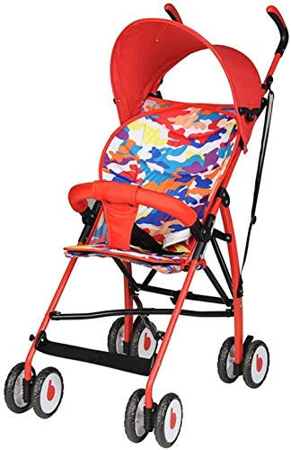 YONGYONGCHONG Wagen Kinderwagen-Leichtklappkinderwagen, Dreipunkt-Sicherheitsgurt, Einstellbare Markise, Dämpfende Universal-Silent-Rad-Kinderwagen Dreirad (Color : Red)
