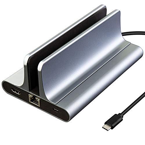 USB C 3.0 Hub 3 USB 3.0 4K HDMI Gigabit Ethernet puerto Tipo-c6 en 1 vertical para portátil con tamaño ajustable compatible con todos los MacBook y portátiles