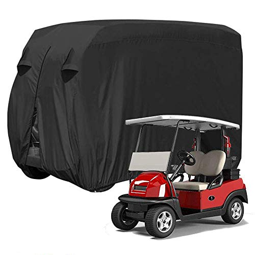 ez go golf cart covers IC ICLOVER Golf Cart Cover, Heavy Duty 420D Oxford Waterproof Dustproof Driven Enclosure Storage Cover for 4 Passenger EZ GO Club Car Yamaha Golf Cart Roof, L110 x W51 x H57 Inches