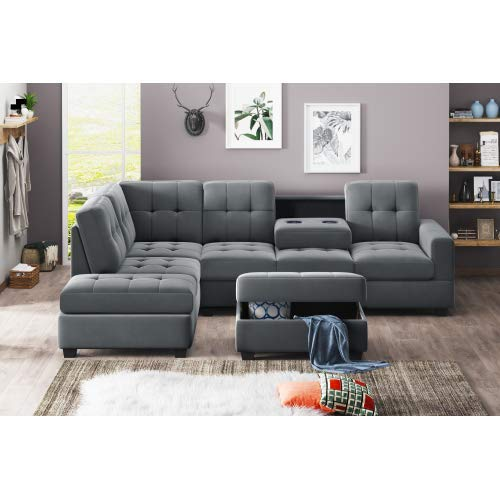 STARTOGOO Modern 3 Piece Sectional, L-Shaped Sofa Couch with Reversible Chaise Lounge Storage Ottoman and Cup Holders, Gray Microfiber