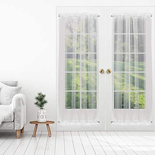 SuperMee Sheer Door Curtain Linen French Door Curtains for Glass Door Set of 2 Panels with Tieback and Magic Tape White Sheer (W50×L72)
