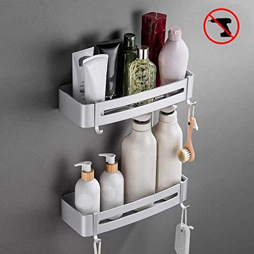 Gosfun Duschkorb 2 Stück Badregal Ohne Bohren Badezimmer Duschregal Aluminium Selbstklebender Duschablage mit 4 Haken Silber