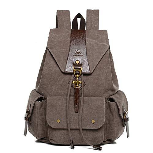 Mochilas Lona, Popoti Mujeres Hombres Mochila Escolar Backpack 15 Inch Laptop Bag Daypack Unisex Rucksack School Portátil Viaja Senderismo Gran Bolsa (Coffee)