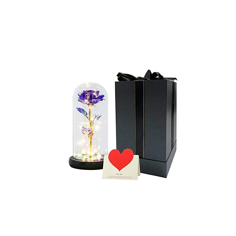 silk flower arrangements rose flower gift, beauty and the beast rose kit,artificial gift lasts forever in a glass dome with led lights, rainbow rose gift for her, perfect for valentine's day, mothers day,wedding,anniversary