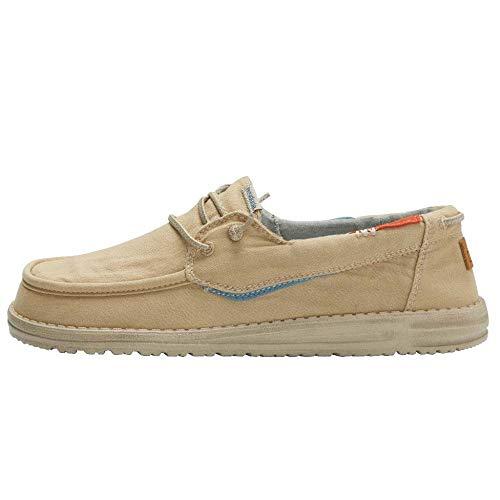 Hey Dude Welsh - Zapatos de Barco de los Hombres - Color Washed Safari - Plantilla ergonómica de Espuma viscoelástica - Talla EU 42