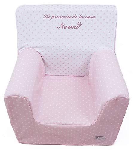 Borda y más Sillón o Asiento Infantil Personalizado de Espuma Infantil para bebés y niños.(Estrellas Rosa)