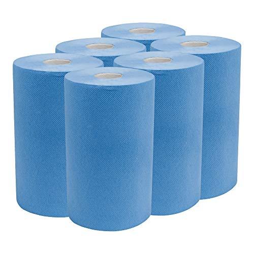 STIER Putzpapier Rollen, 6 Rollen, blau, Putzrollen, 3-lagig, Länge 30 cm x Breite 23 cm, saugstarke Reinigungstücher, reißfeste Putztücher aus 100% Zellstoff