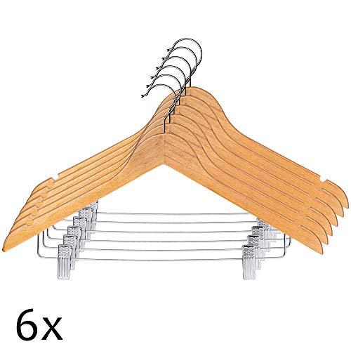KADAX Kleiderbügel aus Holz, mit Klemmen aus Metall, Zwei Einkerbungen, 360°drehbarer Haken, Garderobenbügel für Kleidung, Hosen, Hemd, Rock, Anzug, Jackenbügel, rutschfest (6)
