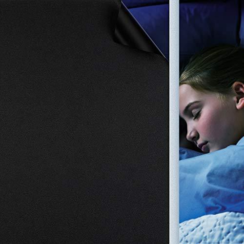 Fensterfolie Selbsthaftend Schwarz, Verdunkelungsfolie Blickdicht Sichtschutzfolie Anti-UV & Sichtschutz Fenster Klebefolie Statische Folie Dunkel für Schlafzimmer Badezimmer - Schwarz [44,5x400 cm]