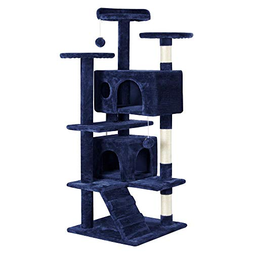 """Yaheetech 53.5"""" Cat Tree Tower Condo Furniture Scratch Post for Kittens Pet House Play Navy Blue"""