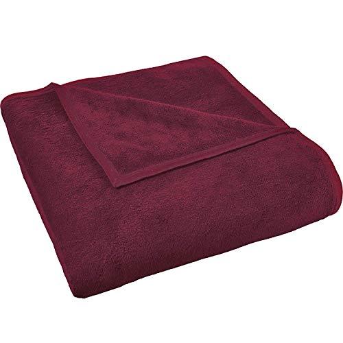 Delindo Lifestyle® Wohndecke Granada Bordeaux / 450g/m² Kuscheldecke aus 60prozent Baumwolle / 220x240 cm/Tagesdecke/Wolldecke für Erwachsene & Kinder