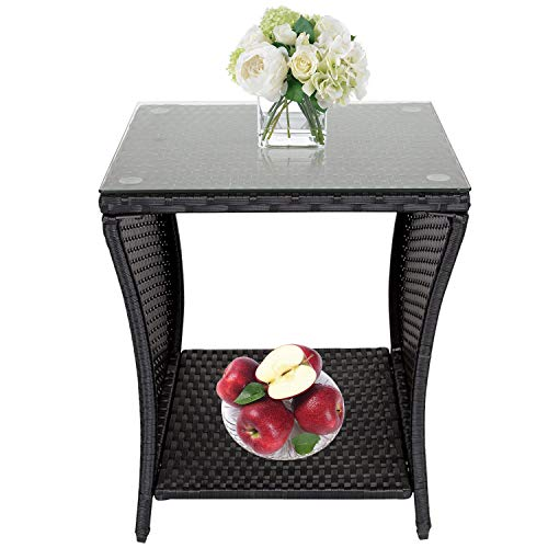 Porch Side Table, Wicker Table with Storage, Outdoor Square Side Tables for Patio Garden Porch, Black
