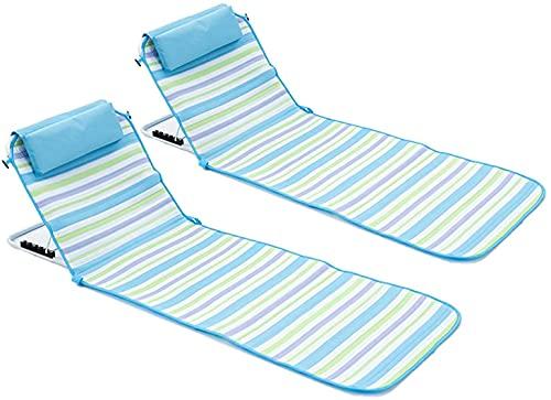 GINDU Sillas de playa para adultos Silla de playa portátil reclinable – Rayas piscina chaise Lounge Césped sillas para relajarse al aire libre y bronceado