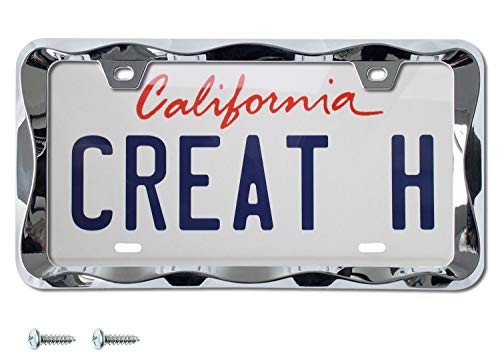 Creathome 3D Curly Wave Pattern Chrome License Plate Frame from Pure Zinc Alloy Metal
