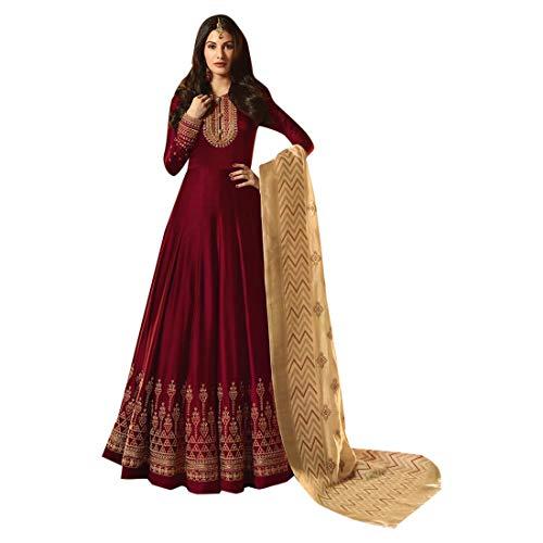 ETHNIC EMPORIUM Damen Rote Swarovski Handarbeit voller Länge Anarkali Salwar Kameez Semi Genähte Jaquard Seide Dupatta Anzug 7514 28 bis 42...
