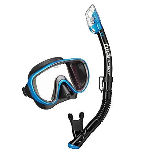 TUSA Sport Serene Black Series máscara y tubo seco para adultos - UC-1625PQB-FB, Negro/Azul cola de pescado (con bolsa reutilizable).