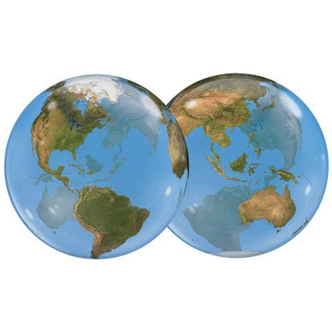 Ballon Bubble planète Terre Ballon Taille 22 (55cm) à l'unité