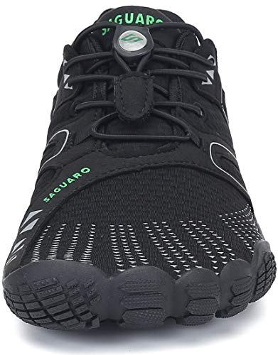 SAGUARO Hombre Mujer Minimalistas Zapatillas de Deporte Trail Running Calzado Caminar Cómodas Senderismo Ciclismo Ligeras Deportivas Andar Trekking Montaña Agua Exterior Interior(059 Negro, 38 EU)