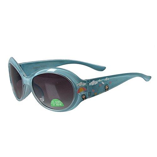 Sunglass Fashion Gafas de Sol para niños Dibujos Animados Oval Gafas de Sol de Colores Protección UV Ambiental para niños Lente Meterial de PC Segura para niños (Color : Azul)