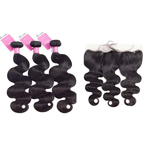 """ISEE Hair Unprocessed Virgin Brazilian Body Wave Human Hair Extension Weave 3 Bundles With 13x4 Free Part Lace Closure Remy Human Hair Body Wave Natural Black (14""""&16""""&18""""with 12""""Frontal)"""