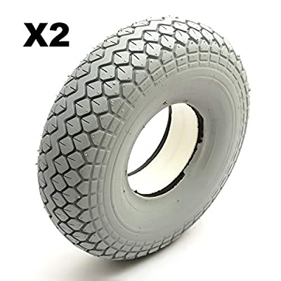 2 Solid PU Tyre 4.00-5 Grey Puncture Proof Mobility Scooter Diamond Tread 5 Inch Wheel Rim