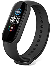 Xiaomi Band 5 Bracelets, Smart Watch AMOLED 2.7cm Screen Heart Rate Monitor Pedometer Sleep Monitoring Calorie Magnetic Charging Battery Up to 14 Days Female Health 50m Waterproof [Version 2020] Black