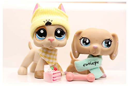 WOLFGIRL LPS Great Dane 1647 Tan LPS Dachshund 2597 Blue Eyes Dog Puppy with Accessories Lot Figure Collection Kids Girls Boys Birthday Xmas Gift