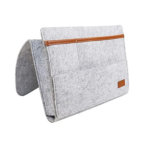Joliy Organizador de ropa de cama, organizador para cama, de fieltro, para colgar en el sofá, para organizar revistas de tabletas, color gris claro