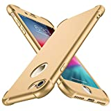 ORETECH iPhone 8 Case, iPhone 7 Case, with[2 x Tempered Glass Screen Protector] 360° Full Body Shockproof Protection Cover Ultra-Thin Hard PC + Soft Rubber Silicone for iPhone 7/8-4.7'' -Gold
