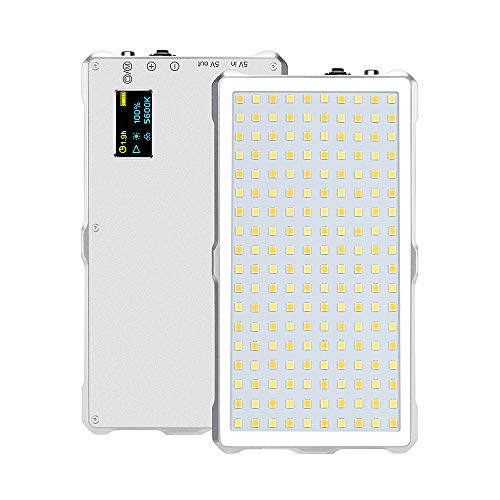 Andoer LED ビデオライト 撮影用ライト 照明ライト フィルライトパネル 180ビーズ 3200-5600K CRI96+ 1300LM 内蔵4000mAhバッテリー 撮影定常光ライト ビデオ録画 プロ 商業写真 結婚式写真 ライブ放送など用