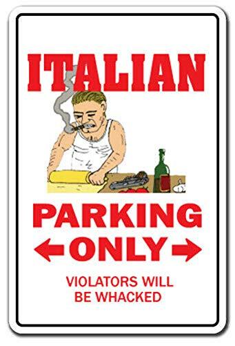 TammieLove Italian Calcomanía de estacionamiento Italia Mafia mafioso Comida Pizza Mafia Mafia Mafia Placa de Metal 8 x 12 Pulgadas
