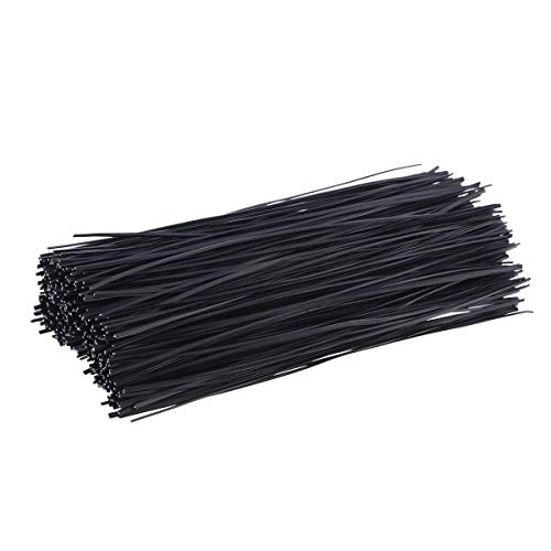 Yardwe 1000PCS Plastic Black 6 Inch Twist Tie for Plants Grape Vine Trellis Wire Ties for Bread Candy Bags Cable Tie Organizer (Black,6 Inch)