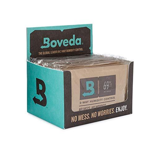 Boveda für Zigarren/Tabak | 2-Wege-Feuchtigkeitsregulierung mit 69 % relativer Feuchtigkeit | Größe 60 zur Verwendung für jeweils 25 Zigarren im Humidor | patentierte Technologie für Zigarren-Humidore | Verkaufskarton mit 12 Stück