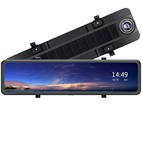 12 Inch Mirror Dash Cam 1080P Front and Rear Dual Lens Backup Camera, Full Touch Screen Mirror Camera,170° Wide Angle and Night Vision